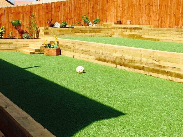 Garden with decking and grass