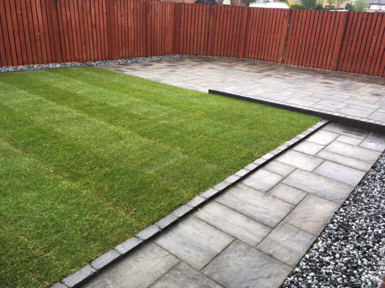 Paving slabs and grass
