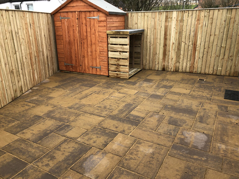 Back garden paving slabs